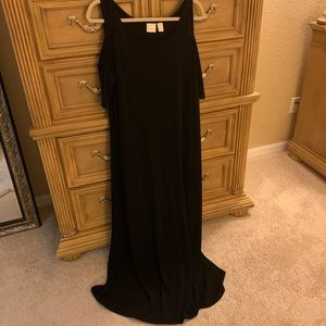 Chicos black long dress with cold shoulder.